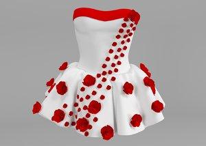 3D white dress roses model