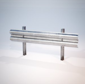 3D model guardrail - fence highway