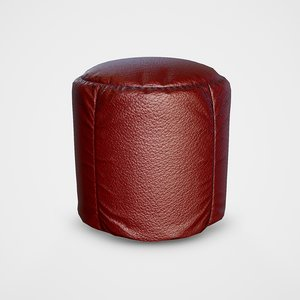 pouf leater stool - 3D model