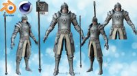 Polished Plate Armor with Zweihander Rigged for Maya model