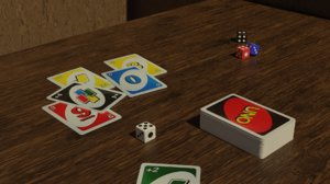 3D model board uno dice cards