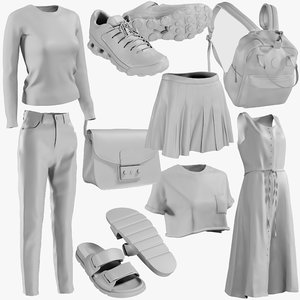 3D model mesh clothing mix 14