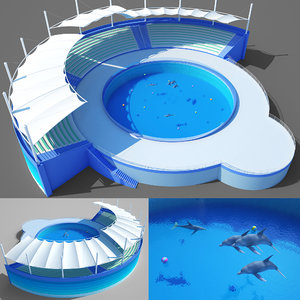 3D dolphin park water model