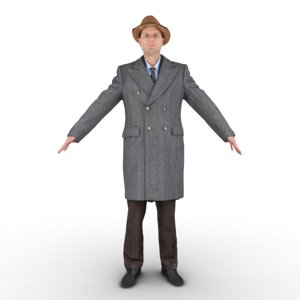 3D man oldschool pose model