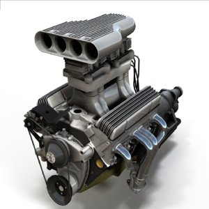 vintage hot rod v8 engine 3D model