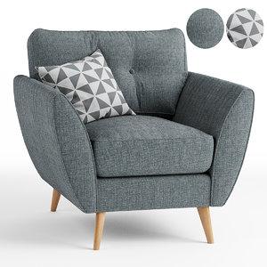 3D armchair zinc chair model