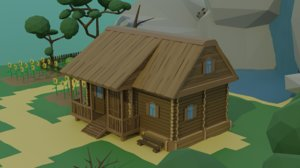 cartoon wood house 3D model