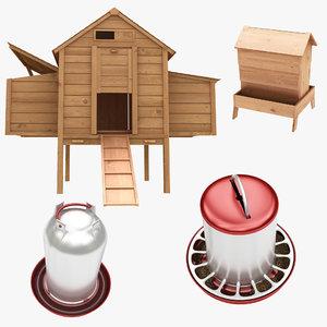 chicken coop feeders 3D model