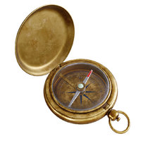 Vintage Brass Compass 4. v.2. 3D model with PBR textures.