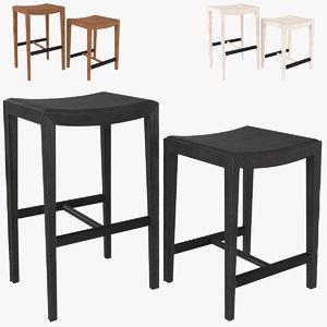 3D folio backless bar stool