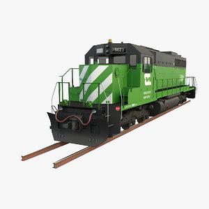 3D locomotive emd sd40-2 burlington