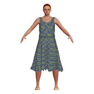 white woman dress hair 3D model