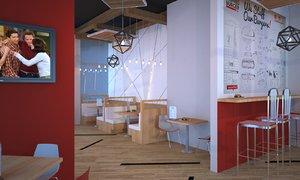 3D restaurant cafe interior scene model