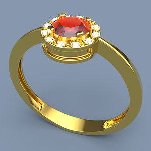 gold ring gemstone printing 3D model