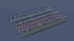 modular metal street fence 3D model