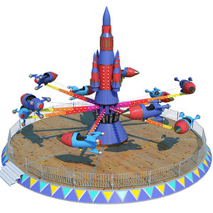 3D model rocket carousel