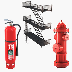 3D model equipment extinguisher hydrant