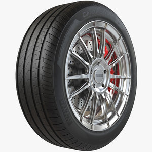 realistic car wheel pbr model