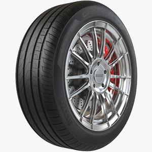 realistic car wheel pbr model