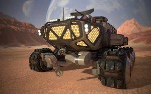3D sci-fi rover modeled model
