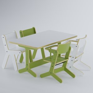 3D child chair table model