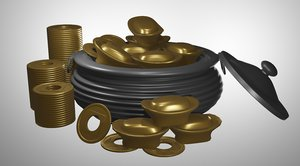 3D pot gold old