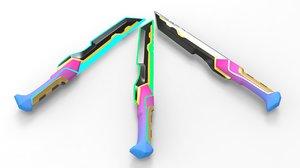3D dagger knife
