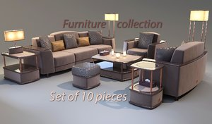 furniture set sofas armchair 3D