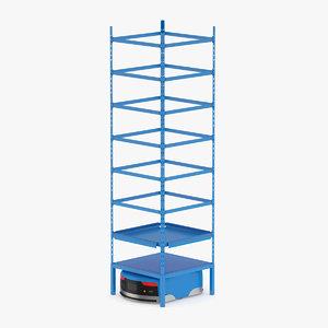 robot rack warehouse 3D