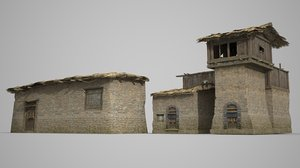 3D model ancient thatched dwellings