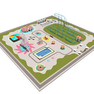 3D amusement park equipment pack model