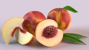 3D peach apricot plum
