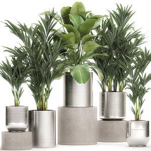 3D ornamental plants chrome flowerpots