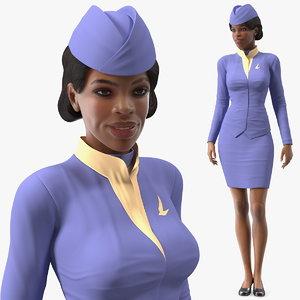 3D light skin black stewardess