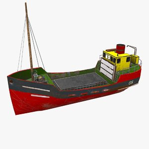 3D cargo ship boat pbr model
