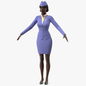 3D dark skinned black stewardess