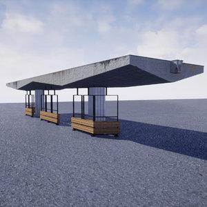 3D monumental soviet bus stop