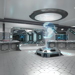 3D sci-fi interior spaceship model