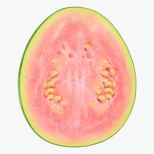 3D realistic pink guava slice model