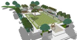 3D contemporary courtyard
