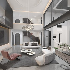 villa living room 3D model