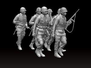 american soldiers ww2 3D model