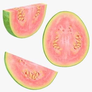 realistic pink guava slice 3D model