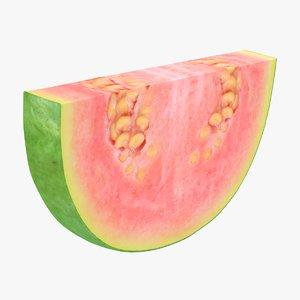 realistic pink guava slice 3D