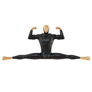 3D model black male mannequin sitting