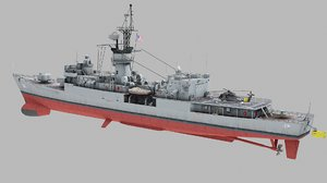 3D frigate knox class uss model