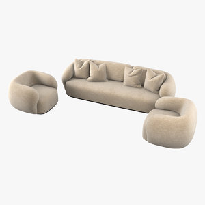 greenkiss coral armchair sofa 3D model