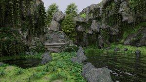 3D scene rocks plant model