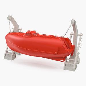 lifeboat davit crane boat ship model