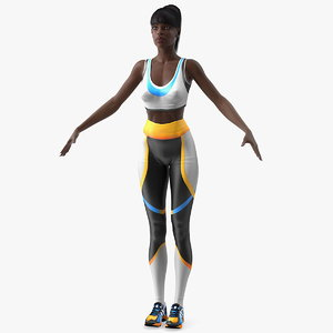dark skin fitness woman 3D